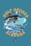 Gulf Shores, Alabama - Dolphins Jumping - Contour - Lantern Press Artwork