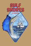 Gulf Shores, Alabama - Sailfish Scene - Contour - Lantern Press Artwork