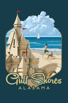Gulf Shores, Alabama - Sandcastle - Contour - Lantern Press Artwork