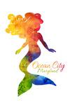Ocean City, Maryland - Mermaid Silhouette - Rainbow Watercolor - Contour - Lantern Press Artwork
