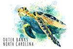 Outer Banks, North Carolina - Sea Turtle - Watercolor - Lantern Press Artwork