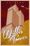 Chicago, Illinois - Willis Tower - Vintage Landmark Stamp - Lantern Press Artwork