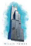 Chicago, Illinois - Willis Tower - Watercolor - Lantern Press Artwork