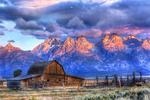 Barn & Mountain Range at Sunset - Lantern Press Photography