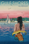 Gulf Shores, Alabama - Mermaid & Beach - Lantern Press Artwork