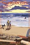 Michigan City, Indiana - Sunset on Beach - Lantern Press Artwork