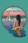 Gulf Shores, Alabama - Mermaid & Beach - Letterpress - Contour - Lantern Press Artwork