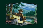 Smokey Bear - Leaving in SUV - Contour - Vintage Poster