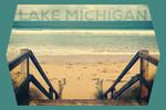 Lake Michigan - Sandy Stairs & Beach - Contour - Lantern Press Photography