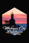 Indiana - Michigan City Lighthouse at Sunset - Contour - Lantern Press Artwork
