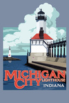 Indiana - Michigan City Lighthouse - Contour - Lantern Press Artwork