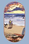Michigan City, Indiana - Sunset on Beach - Contour - Lantern Press Artwork