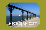Michigan City, Indiana - Lighthouse View - Contour - Lantern Press Photography