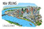 New Orleans, Louisiana - Line Drawing - Lantern Press Artwork
