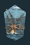 Kraken Attacking Ship - Contour - Lantern Press Artwork