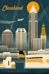 Cleveland, Ohio - Retro Skyline - Lantern Press Artwork