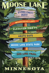 Moose Lake , Minnesota - Destination Signpost - Lantern Press Artwork