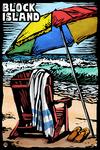 Block Island, Rhode Island - Beach Chair - Scratchboard - Lantern Press Artwork