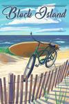 Block Island, Rhode Island - Beach Cruiser on Beach - Lantern Press Artwork