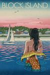 Block Island, Rhode Island - Mermaid & Beach - Lantern Press Artwork