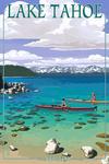 Lake Tahoe, Nevada - Kayakers in Cove - Lantern Press Artwork