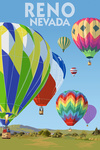 Reno, Nevada - Hot Air Balloons - Lantern Press Artwork