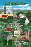 Ohio - Retro Countryside - Lantern Press Artwork