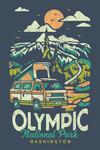Olympic National Park, Washington - Distressed Mountain Scene - Lantern Press Artwork