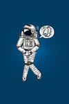 Uncomfortable Astronaut - Vector with Linework - Lantern Press Artwork