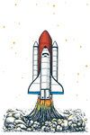 Rocket Takeoff - Vector with Linework - Lantern Press Artwork