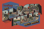 Black Hills, South Dakota - Greetings - Large Letter Scenes - Halftone - Contour - Vintage Postcard