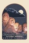 Mount Rushmore National Memorial, South Dakota - Night Scene - Contour - Lantern Press Artwork