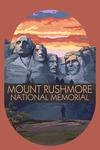 Mount Rushmore National Memorial, South Dakota - Sunset View - Contour - Lantern Press Artwork