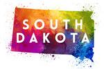 South Dakota - State Abstract Watercolor - Contour - Lantern Press Artwork