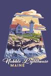 York, Maine - Nubble Lighthouse - Contour - Lantern Press Artwork