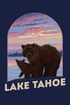 Lake Tahoe, California - Bear and Cub - Contour - Lantern Press Artwork