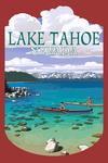 Lake Tahoe, Nevada - Kayakers in Cove - Contour - Lantern Press Artwork