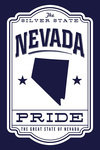 Nevada - State Pride - Blue on White - Contour - Lantern Press Artwork