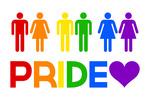 Gay Pride - Couples - Pride Colours - Lantern Press Artwork