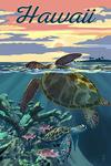 Hawaii - Loggerhead Sea Turtle & Sunset - Lantern Press Artwork