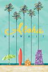Hawaii - Tall Palms Beach Scene - Aloha - Lantern Press Artwork