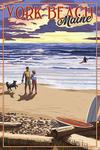 York Beach, Maine - Beach Scene & Surfers Walk at Sunset - Lantern Press Artwork