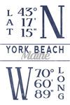 York Beach, Maine - Latitude & Longitude - Lantern Press Artwork