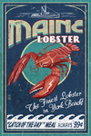 York Beach, Maine - Lobster  Vintage Sign - Lantern Press Artwork