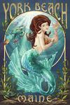 York Beach, Maine - Mermaid - Lantern Press Artwork