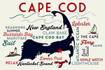 Cape Cod, Massachusetts - Dennis Port - Typography & Icons - Lantern Press Artwork