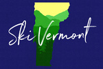 Vermont - Ski - State Silhouette & Mountains - Green Forest on Blue - Lantern Press Artwork