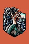 Mermaid - Scratchboard - Contour - Lantern Press Artwork