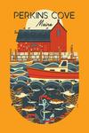 Perkins Cove, Maine - Nautical Geometric - Contour - Lantern Press Artwork