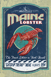 York Beach, Maine - Lobster Vintage Sign - Contour - Lantern Press Artwork
